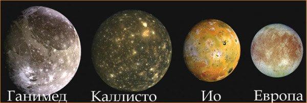 Галилеевы спутники Юпитера; Ио, Европа, Ганимед, Каллисто